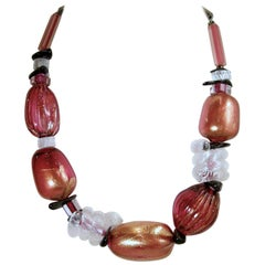 Vintage French Hand Blown Glass Multi-Color Necklace