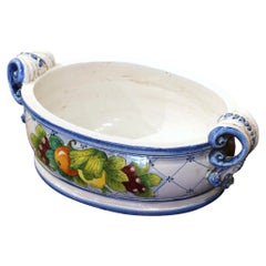 Vintage French Hand Painted Oval Dish with Handles