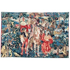 Vintage French Hand Painted Tapestry