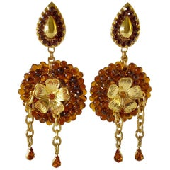 Vintage French High Fashion Gilt Amber Statement Earrings