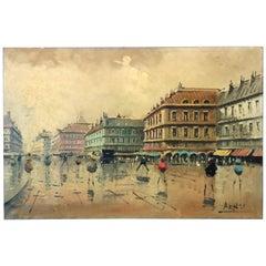 Vintage French Impressionist Paris Street Scene Oil on Canvas Signed Arnes