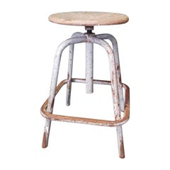 Vintage French Industrial Adjustable Stool, by Unic tables à Paris-Neuilly