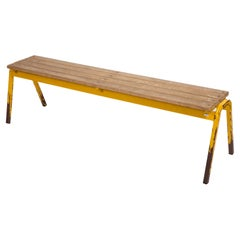 Vintage French Industrial School Bench