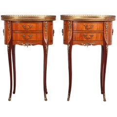 Vintage French Inlaid Kingwood Oval Nightstands