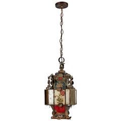 Vintage French Iron and Stained Glass Lantern