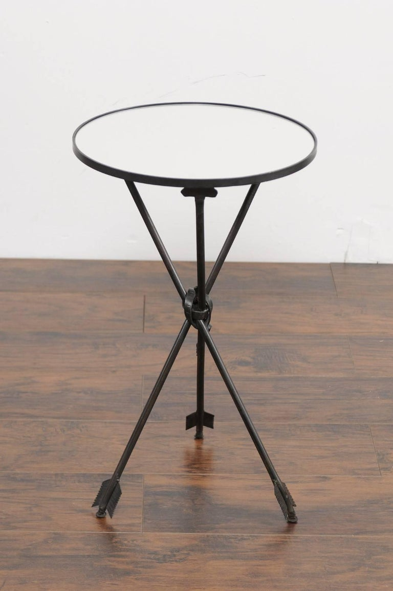 Vintage French Iron Round Side Table, circa 1930 with Arrow Legs and Mirror Top For Sale 5