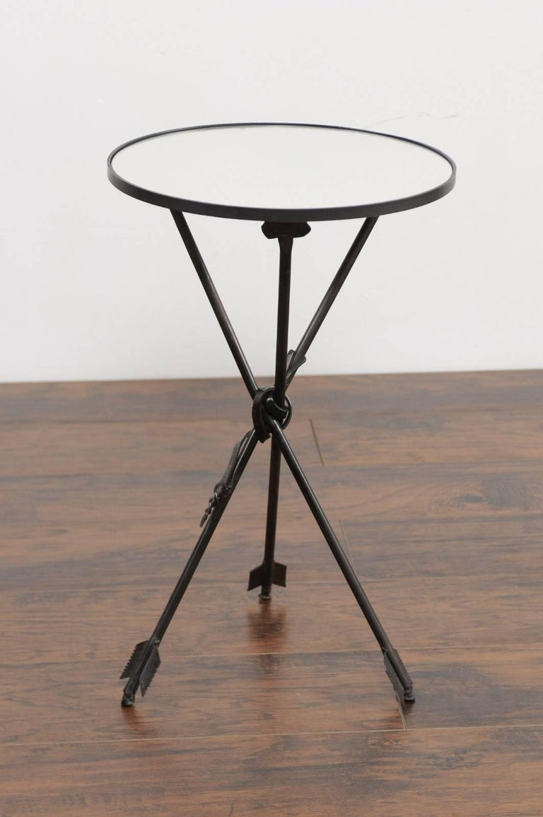 Mid-Century Modern Vintage French Iron Round Side Table, circa 1930 with Arrow Legs and Mirror Top For Sale