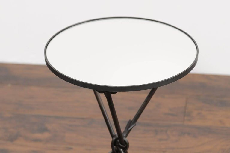 Mid-20th Century Vintage French Iron Round Side Table, circa 1930 with Arrow Legs and Mirror Top For Sale