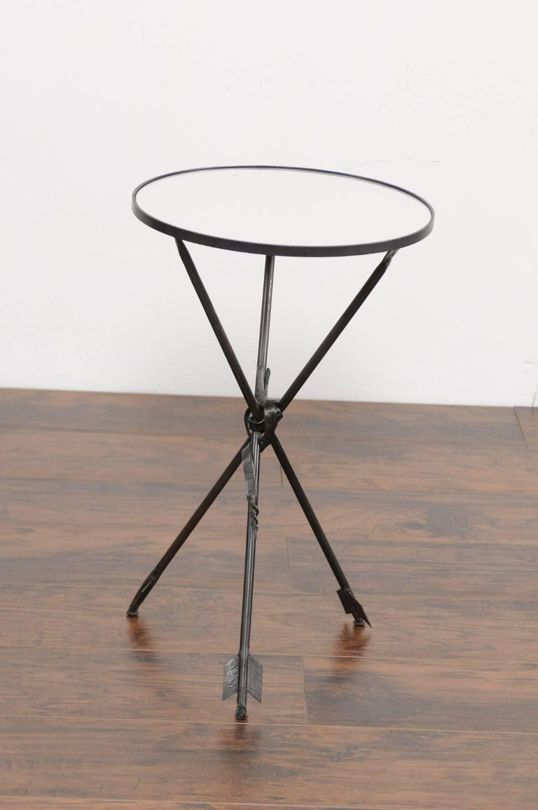 Vintage French Iron Round Side Table, circa 1930 with Arrow Legs and Mirror Top For Sale 1