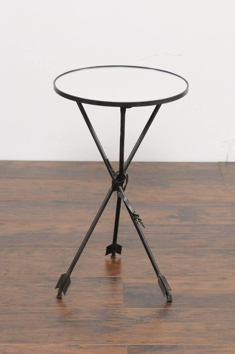 Vintage French Iron Round Side Table, circa 1930 with Arrow Legs and Mirror Top For Sale 2