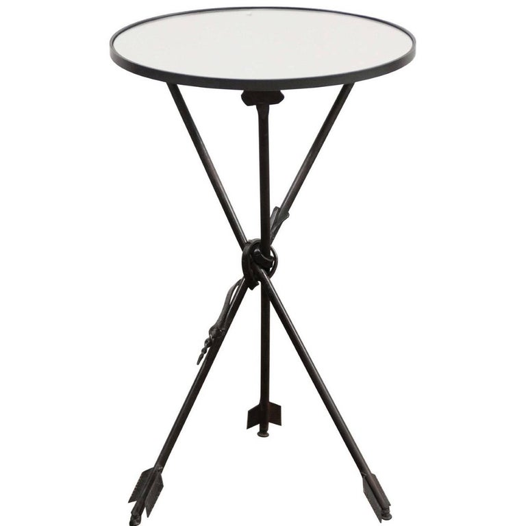 Vintage French Iron Round Side Table, circa 1930 with Arrow Legs and Mirror Top For Sale