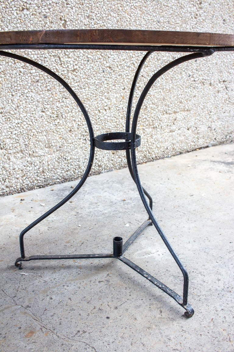 Mid-20th Century Vintage French Iron and Wood Garden Table For Sale