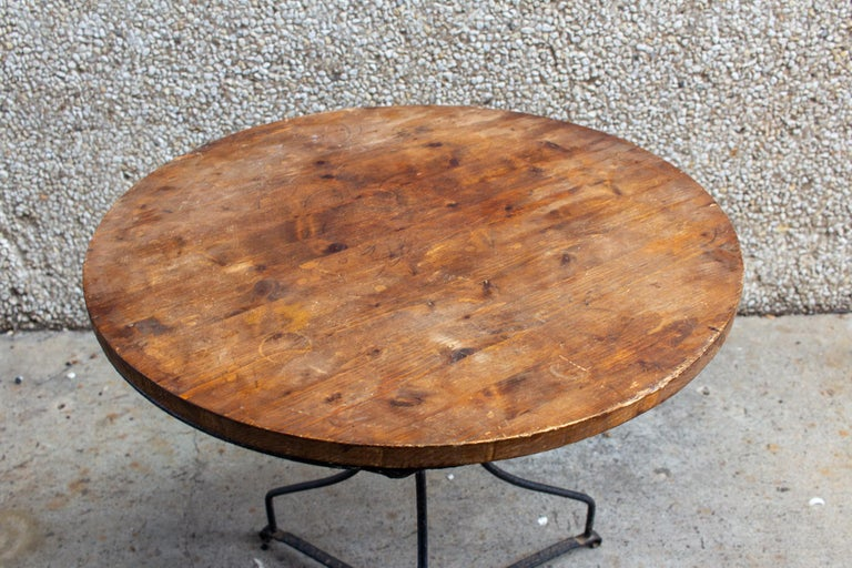 Vintage French Iron and Wood Garden Table For Sale 3