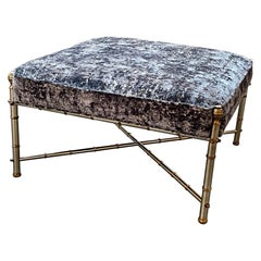 Vintage French Jansen Style Steel and Brass Upholstered Ottoman