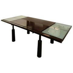 Vintage French Jean-Louis Berthet Mosais Leather Metal/Bronze/Glass Dining Table