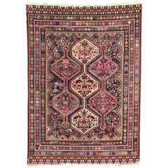 Vintage French Knotted Rug Persian Shiraz Style