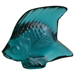 Vintage French Lalique Art Glass Figural Miniature Teal Angel Fish, 20th Century