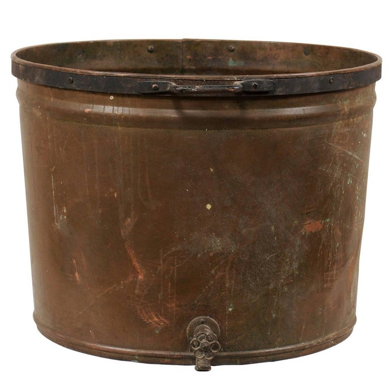 Vintage French Large Copper Kitchen Pot with Handles, Spout and Lovely Patina