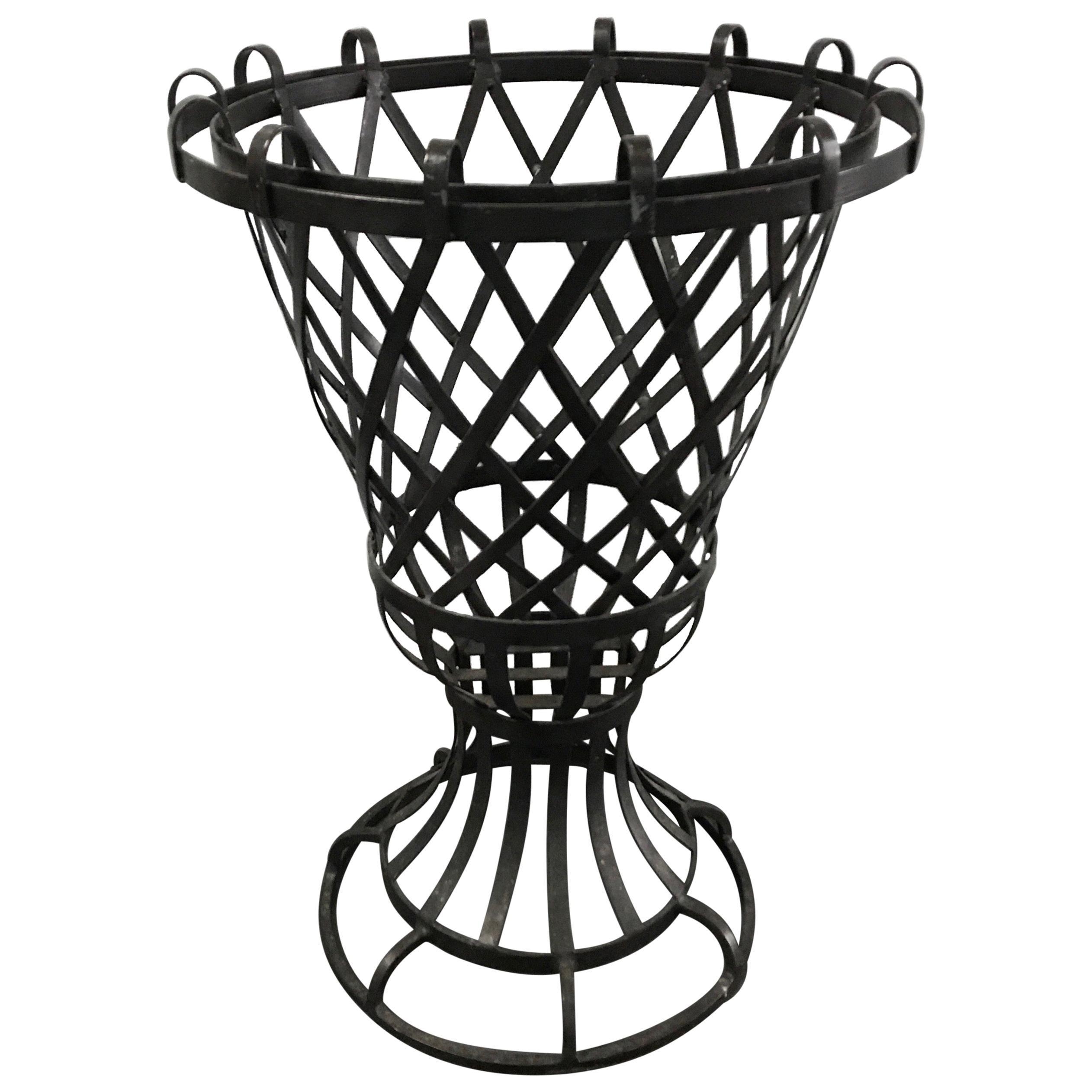 Vintage French Lattice Iron Garden Urn