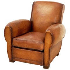 Vintage French Leather Club or Lounge Chair from the Art Deco Era