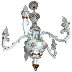 Vintage French Limoges Style Pink Porcelain Flowers and Leaves Gilt Chandelier