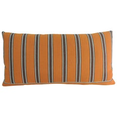 Vintage French Linen Orange and Brown Stripes Long Bolster Decorative Pillow