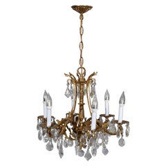 Vintage French Louis XIV Style Gilt Bronze and Crystal Chandelier, 20th Century