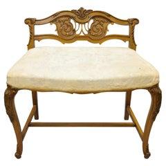 Vintage French Louis XV Carved Mahogany Vanity Bench Chair J.K Rishel Furniture