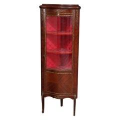 Vintage French Louis XV Mahogany and Ormolu Petite Corner Cabinet Vitrine