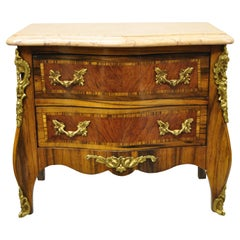 Vintage French Louis XV Marble Top Miniature Bombe Commode Jewelry Box Chest