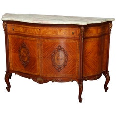 Vintage French Louis XV Style Kingwood, Marble and Floral Marquetry Commode