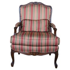 Vintage French Louis XV Walnut Fauteuil Library Arm Chair Striped Upholstery