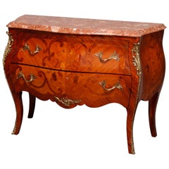 Vintage French Louis XVI Inlaid Kingwood, Marble and Ormolu Bombe Commode