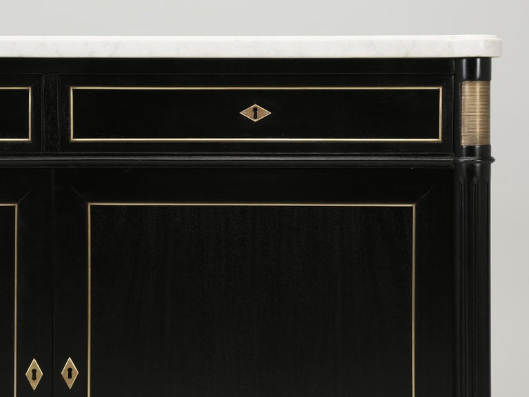 Vintage French Louis XVI Style 2-Door Ebonized Buffet with Original Marble Top For Sale 7