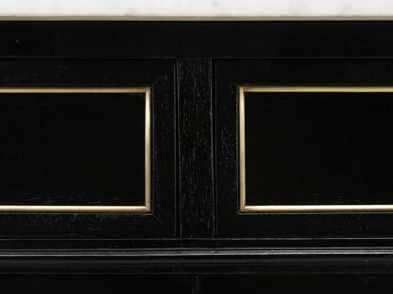 Vintage French Louis XVI Style 2-Door Ebonized Buffet with Original Marble Top For Sale 9