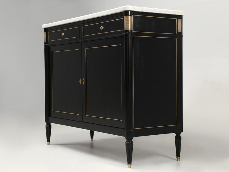 Machine-Made Vintage French Louis XVI Style 2-Door Ebonized Buffet with Original Marble Top For Sale