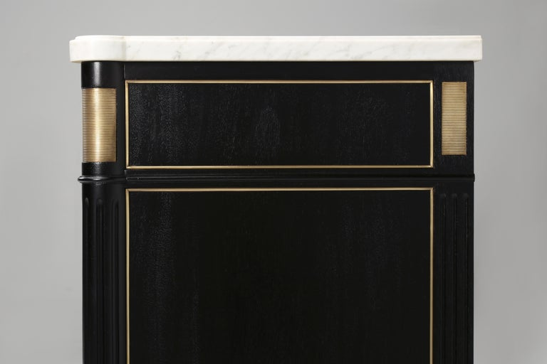 Vintage French Louis XVI Style 2-Door Ebonized Buffet with Original Marble Top In Good Condition For Sale In Chicago, IL