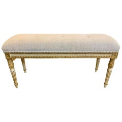 Vintage French Louis XVI Style Carved and Parcel-Gilt Upholstered Bench