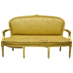 Vintage French Louis XVI Style Gold Leaf 6-Leg Settee Loveseat Sofa