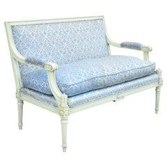 Vintage French Louis XVI Style Hollywood Regency Green Blue Settee Loveseat Sofa