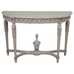 Vintage French Louis XVI Style Original Painted and Carved Console Table