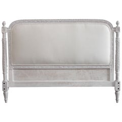 Vintage French Louis XVI Style Painted and Upholstered Queen Size Headboard