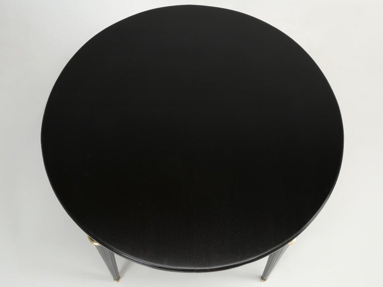 Mid-20th Century Vintage French Louis XVI Style Round Ebonized Dining Table, Completely Restored For Sale
