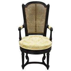 Vintage French Louis XVI Style Swivel Seat Cane Back Black Ebonized Vanity Chair