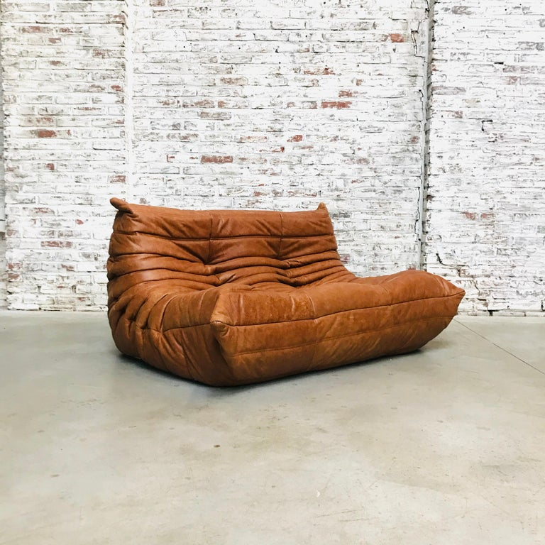 20th Century Vintage French Loveseat in Cognac Leather by Michel Ducaroy for Ligne Roset