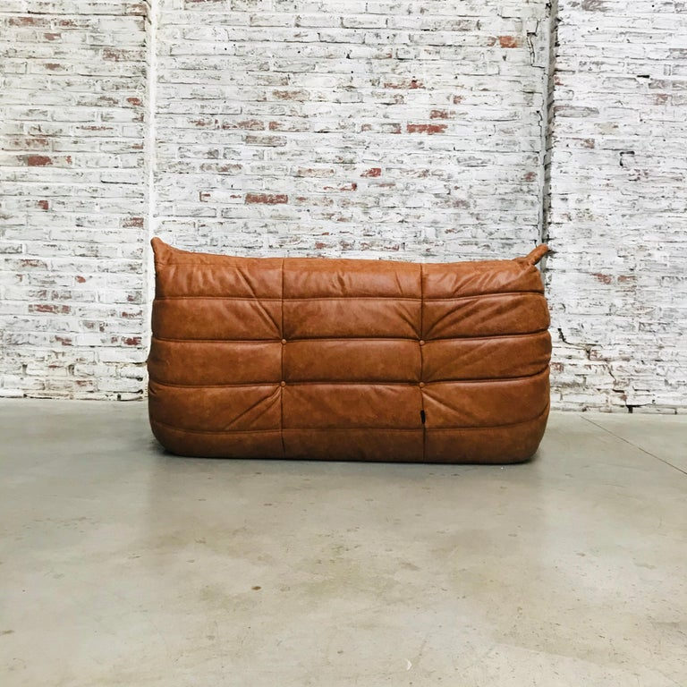 Vintage French Loveseat in Cognac Leather by Michel Ducaroy for Ligne Roset 1