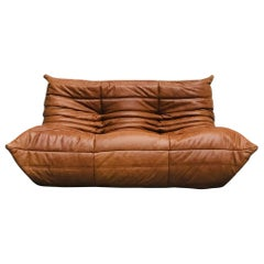 Vintage French Loveseat in Cognac Leather by Michel Ducaroy for Ligne Roset