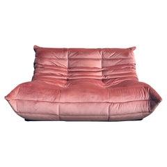 Vintage French Loveseat in Pink Velvet by Michel Ducaroy for Ligne Roset