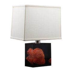 Vintage French Lucite and Coral Lamp after Pierre Giraudon