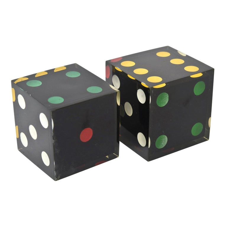 Vintage French Lucite Sculptural Dice Set of 2 For Sale